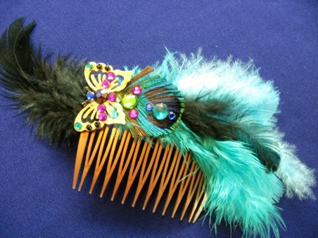 Feathered Butterfly Hair Comb - Teale Green with Peacock Feather