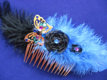 Feathered Butterfly Hair Comb - Royal Blue