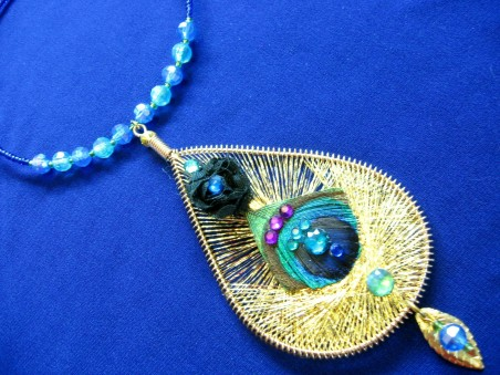 Jewel Toned Peacock Feather Wedding Necklace