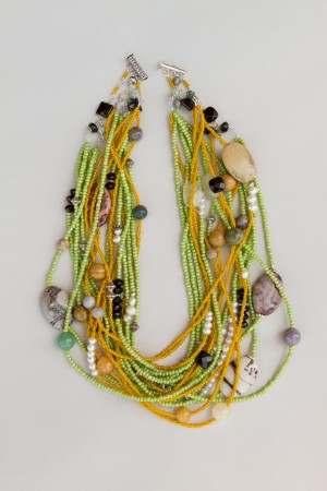 Yellow Chevron beads mixed with stone multi strand necklace