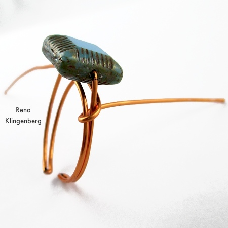 Wire-wrapping the ring shank - Adjustable Wire-Wrap Bead Ring - Tutorial by Rena Klingenberg