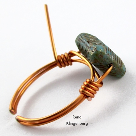 Cut off one wire end - Adjustable Wire-Wrap Bead Ring - Tutorial by Rena Klingenberg
