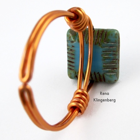 Underside of the finished ring - Adjustable Wire-Wrap Bead Ring - Tutorial by Rena Klingenberg