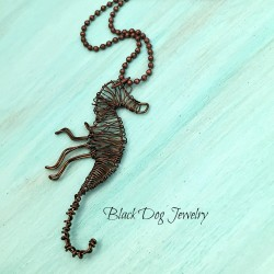 Bronze wire wrapped seahorse
