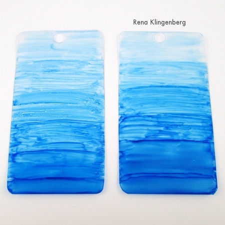 Finished earrings, before heat shrinking - Transparent Ombre Earrings - Tutorial by Rena Klingenberg