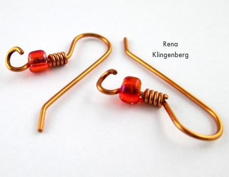 Twist open earwires for attaching to Transparent Ombre Earrings - Tutorial by Rena Klingenberg