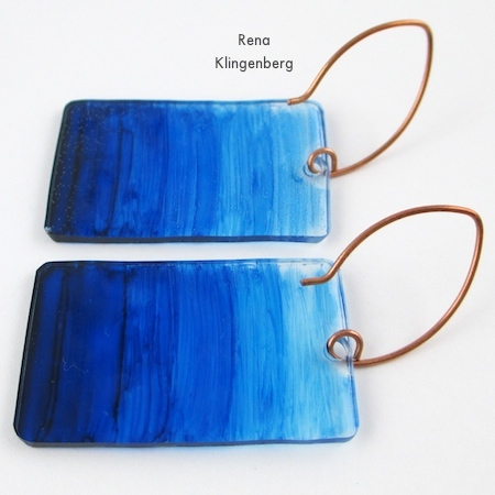 Ombre design in alcohol ink on shrink plastic - Transparent Ombre Earrings - Tutorial by Rena Klingenberg