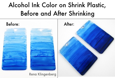 Alcohol ink color on shrink plastic, before and after shrinking - Transparent Ombre Earrings - Tutorial by Rena Klingenberg