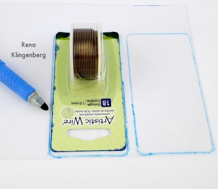 Tracing rectangles on shrink plastic for Transparent Ombre Earrings - Tutorial by Rena Klingenberg