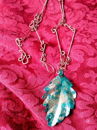 DIY patina handmade copper leaf and chain.