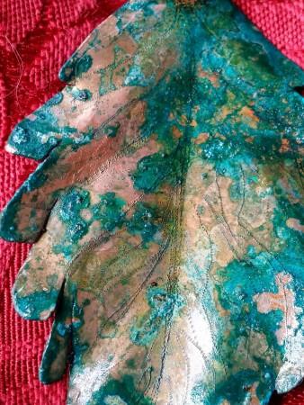 Copper leaf front detail.