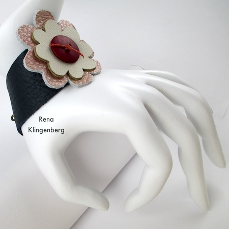 Leather Flower Bracelet - Tutorial by Rena Klingenberg