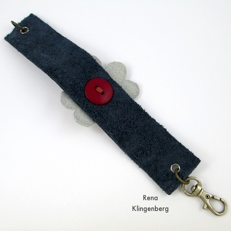 Underside of finished Leather Flower Bracelet - Tutorial by Rena Klingenberg