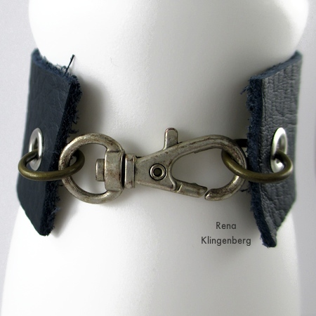 Fastened Clasp on Leather Flower Bracelet - Tutorial by Rena Klingenberg