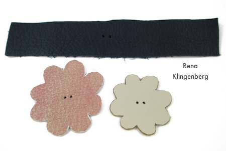 PIerced leather band and flowers for Leather Flower Bracelet - Tutorial by Rena Klingenberg