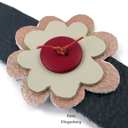 Trim waxed cord ends - Leather Flower Bracelet - Tutorial by Rena Klingenberg
