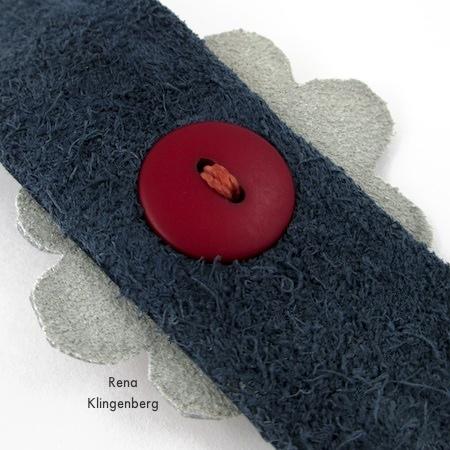 Underside of the attached flower - Leather Flower Bracelet - Tutorial by Rena Klingenberg