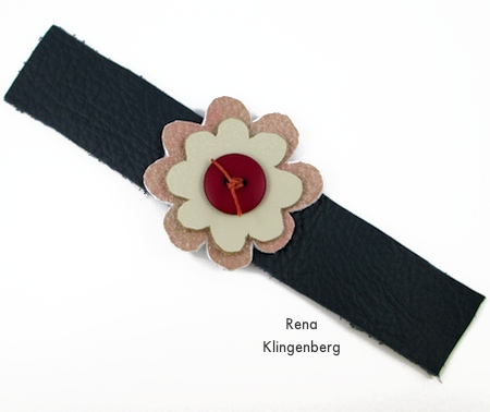 Leather flower attached to wrist band - Leather Flower Bracelet - Tutorial by Rena Klingenberg