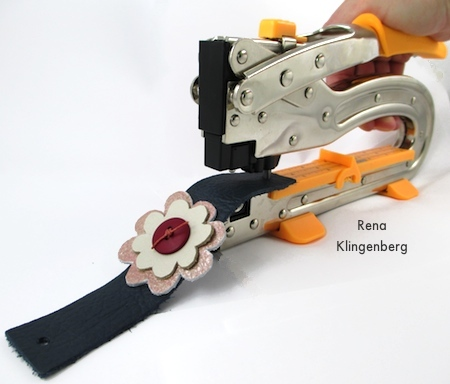 Punching holes at ends of wrist band - Leather Flower Bracelet - Tutorial by Rena Klingenberg