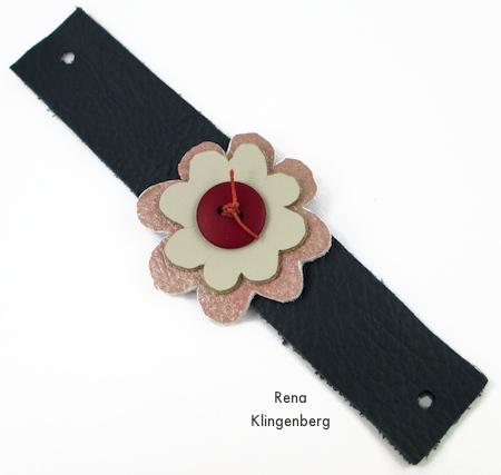 Holes punched at ends of bracelet - Leather Flower Bracelet - Tutorial by Rena Klingenberg