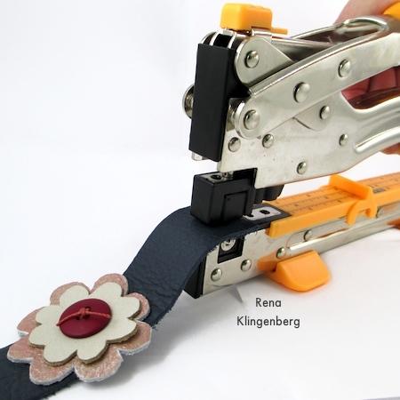 Crimping Eyelets on Leather Flower Bracelet - Tutorial by Rena Klingenberg