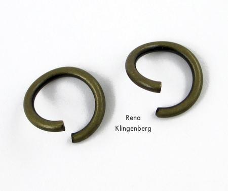 Twist open two jump rings - Leather Flower Bracelet - Tutorial by Rena Klingenberg