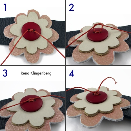 Finishing off waxed cord ends - Leather Flower Bracelet - Tutorial by Rena Klingenberg