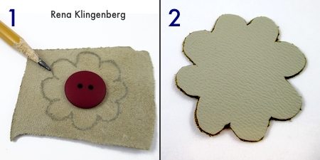 Sketch flower on back side of leather, and cut it out - Leather Flower Bracelet - Tutorial by Rena Klingenberg