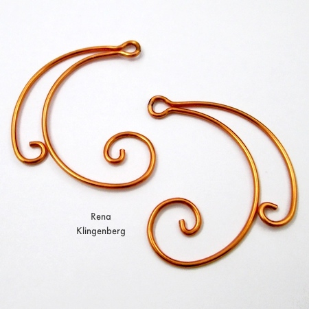 Finished pair of earring jackets for Spiral Wire Earring Jackets - Tutorial by Rena Klingenberg