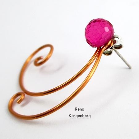 Finished earring jacked on stud earring - Spiral Wire Earring Jackets - Tutorial by Rena Klingenberg