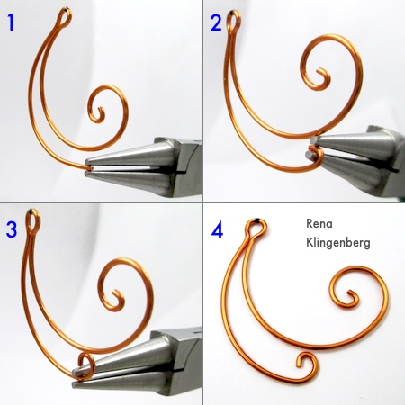 Making the smaller wire spiral for Spiral Wire Earring Jackets - Tutorial by Rena Klingenberg