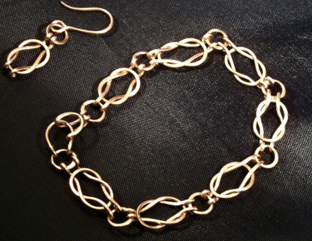 2008 Copper Knot Link Bracelet in rigged light box but I couldn't get the black background to be truly black.  I didn't know about white balancing back then.