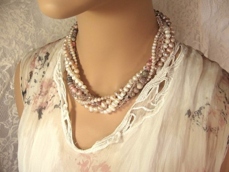 Six-Strand Twisted Necklace in Pinks and Creams