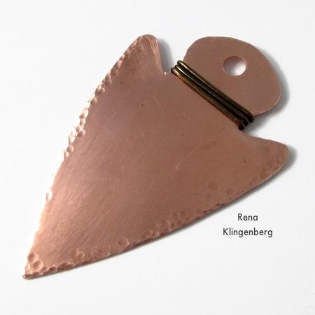 Metalwork arrowhead pendant - How to Give Metal an Oxidized Look - Tutorial by Rena Klingenberg