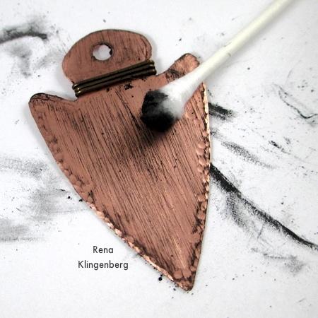 Metal Arrowhead Pendant - How to Give Metal an Oxidized Look - Tutorial by Rena Klingenberg