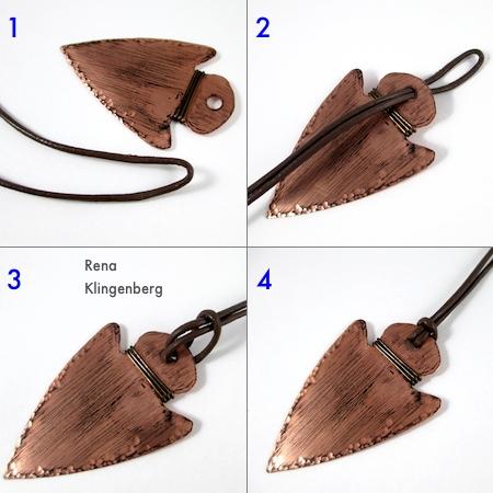 Attaching leather cord - Metalwork Arrowhead Pendant - Tutorial by Rena Klingenberg