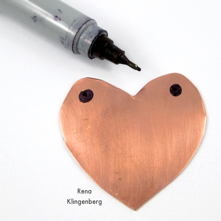 Heart pendant marked for two holes - How to Punch Holes in Metal - Tutorial by Rena Klingenberg