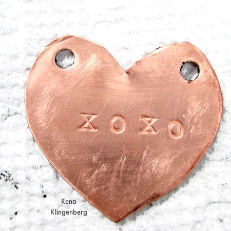 Stamped metal heart - How to Give Metal an Oxidized Look - Tutorial by Rena Klingenberg