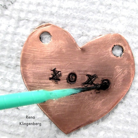 Stamped metal heart - How to Give Metals an Oxidized Look - Tutorial by Rena Klingenberg