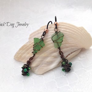 Green Sea Glass Earrings