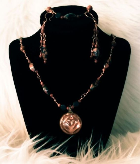 Cool Copper & Blue Wire Wrap Set