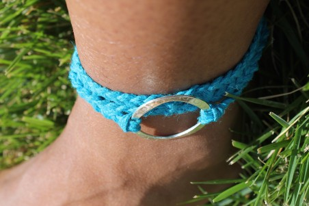 Close up on ankle with the wrap bracelet