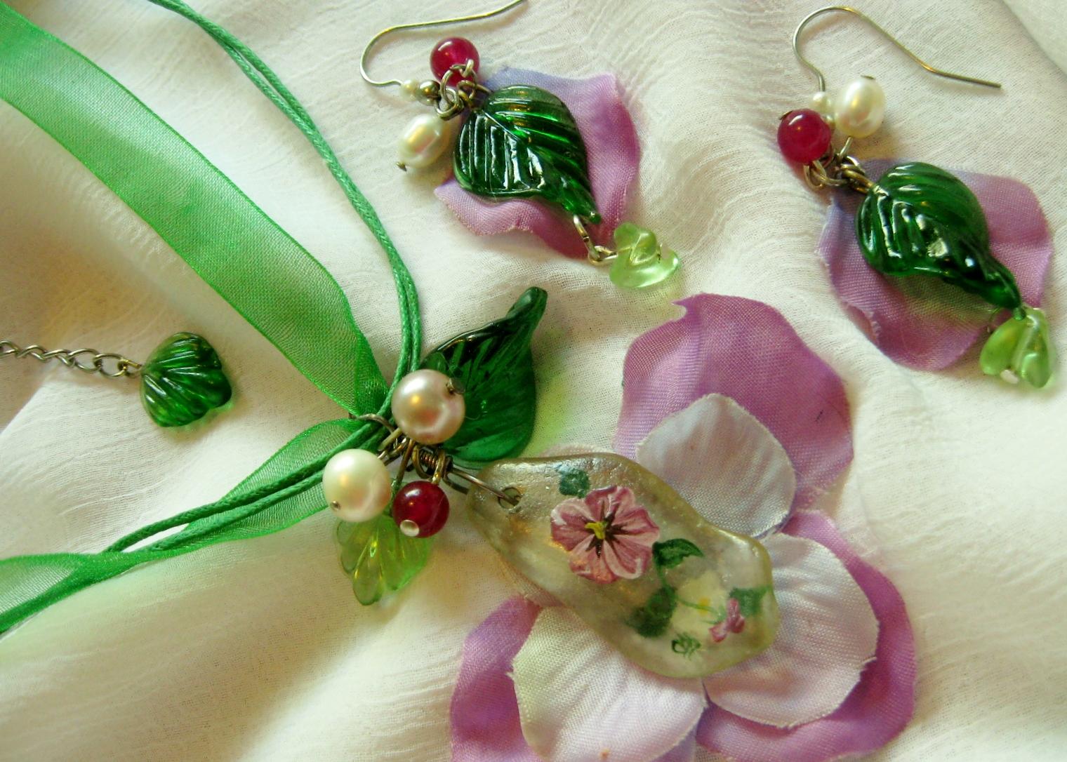 Mauve Flower Petal Jewellery