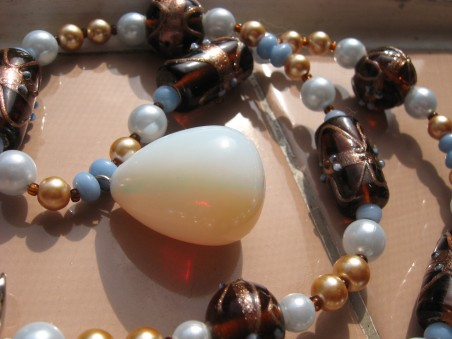 Opalite Necklace with Brown Art Beads, with Red Flash