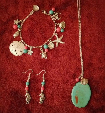 Summer Daze - Glass Turquoise and Coral Beads, Turquoise Geode Rock Pendant, Silvertone Metal Chain and Metal Charms,