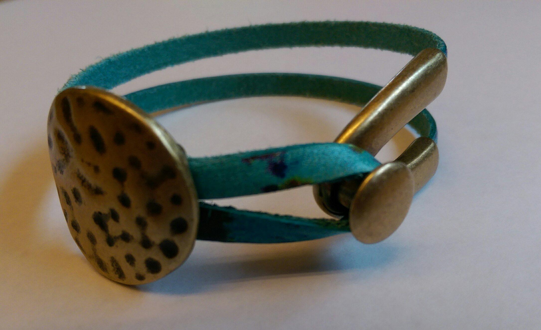 Watercolor & Antique Brass Bracelet