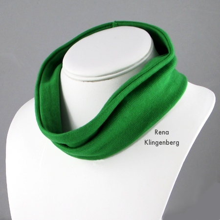 Wearing wide fabric headband around the neck - No-Sew Stretchy Necklace or 1920's Headband - Tutorial by Rena Klingenberg