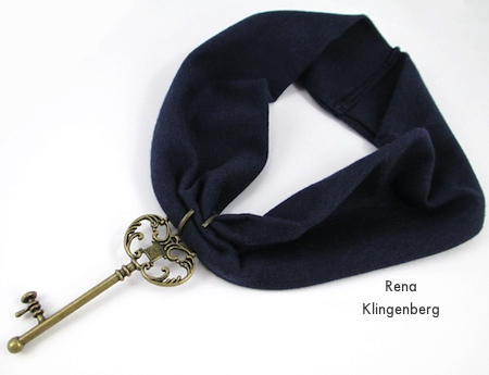 Attaching jump ring to fabric band for No-Sew Stretchy Necklace or 1920's Headband - Tutorial by Rena Klingenberg