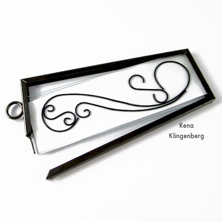 Inserting line art into pendant frame - Wire Line Art Pendant - Tutorial by Rena Klingenberg
