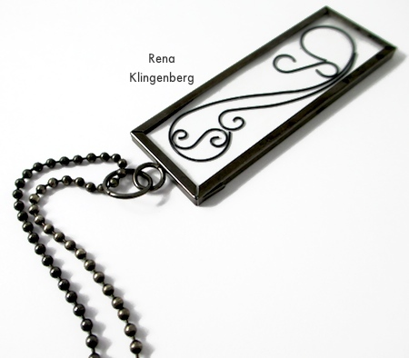 Attaching chain to Wire Line Art Pendant - Tutorial by Rena Klingenberg